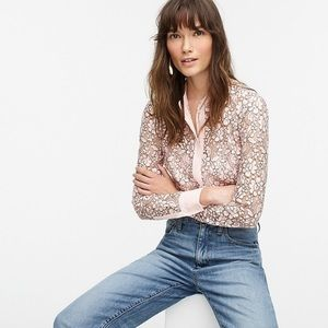 J. Crew Pale Pink Button Up Lace Top